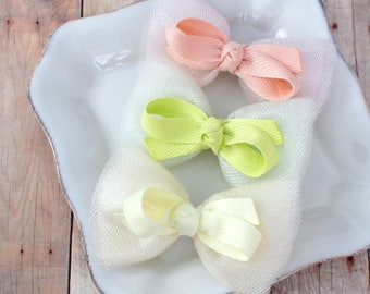 Adorable Girls Hair Bow - Choose your color and style - alligator hair clip, nylon headbnad - Infant bows, toddler bows, girls bows