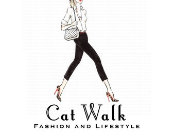 Cat Walk personnage illustré Premade Logo design-mode et style de vie Blog - Fashion BLOGGER