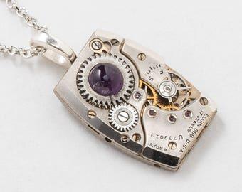 Collier steampunk, montre Elgin Vintage avec des bijoux de rubis, améthyste véritable ensemble dans un engrenage, pendentif en argent sur chaîne Rolo de la Steampunk Nation
