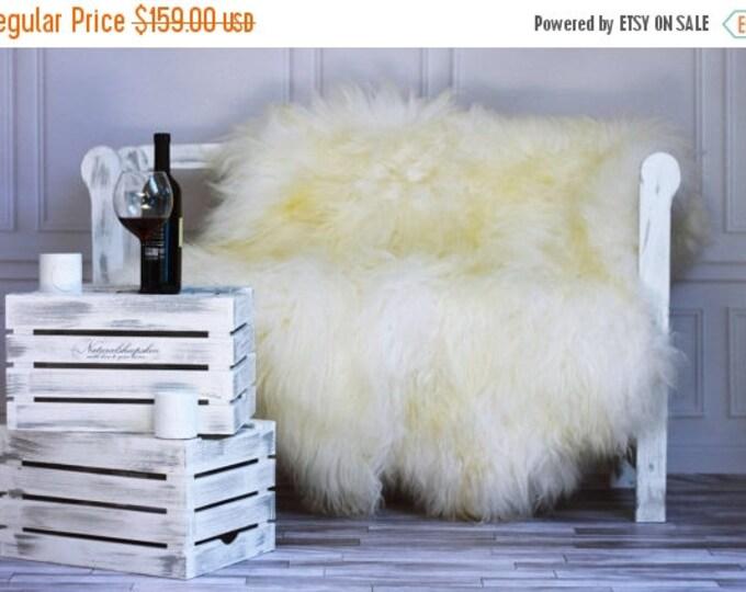 ON SALE Genuine Natural ICELANDIC Sheepskin Rug, Throw, Double - Square - Creamy White