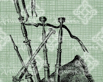 Digital Download Bagpipe, Bag Pipe, Bagpipes , digi stamp, digis, digital stamp, Antique Illustration, Icon of Scotland