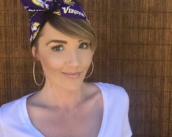 Minnesota Vikings Dolly Bow Reversible Pin Up Rockabilly Dolly Bow Twist Tie Up Headband Headscarf Hair Band Head Wrap Accessories