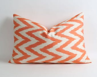 Silk ikat pillow cover // double side // Orange & white chevron zigzag pillow cover // 16x24 inch // handwoven handdyed