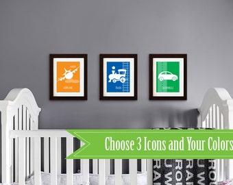 Transportation Prints, Nursery Print, Car, Train, Plane, Vehicle print, Boys room, Nursery Art, Airplane print, Item 009