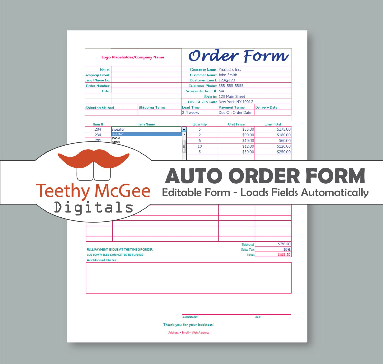 Screen Printing Order Form Template Automatic Instant Download Editable
