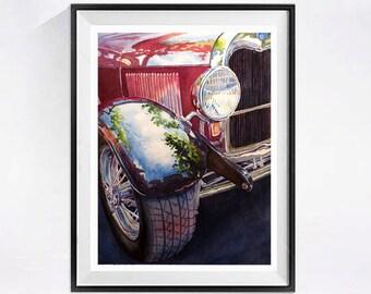 Vintage  Car Art ,  Watercolor Print,  Red vintage car  Collectible car painting Auto Art, Realism Art, Man Cave Ideas Christmas Time Sale