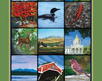 The Granite State NH Poster 11x17 or 8x12 print fall, icons of NH