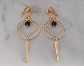 Clip On Earrings: Beautiful Costume Clip-on Earrings Gold Plated, Swivel Design | Fashion Earrings, Long Drop Earrings, Clip Earrings 469