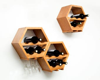 Honeycomb Wine Rack, Wall Wine Racks, Wine Storage, Hexagon Wine Rack, Unique Wood Wine Rack, Modern Wine Rack, Hanging Wine Rack, Set of 3