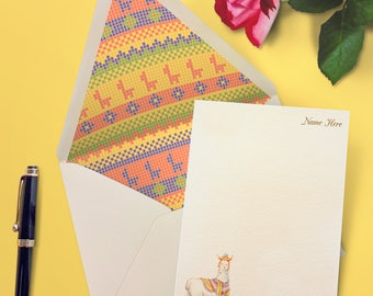 Custom Llama Print Stationery / Colorful Stationery Set / Stationery Sheets / Kids flat Notecards / Unique Lined Envelope / Llama Print