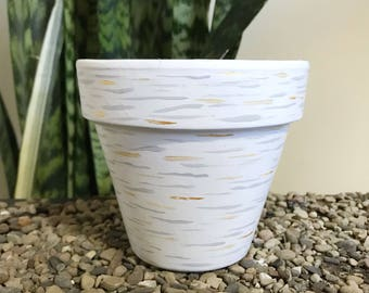 Birch Please. Unique Painted Terra Cotta Planter Pot