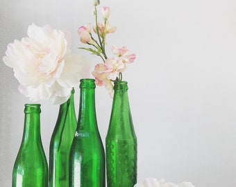 Green Bottle Collection || Farmhouse Style || Farmhouse Fresh || Old Bottles || Vintage Style || Flower Vase || Repurpose ||