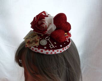 Queen of Hearts Fascinator - Alice in Wonderland, Mad Hatters Tea Party, Through the Looking Glass