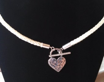 Hand Braided Horsehair Necklace with Sterling Silver Hammered Heart Toggle