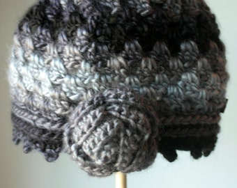 Beanie crochet hat Rose hat, Grey