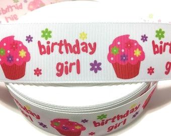 Birthday Girl Ribbon, Birthday Cupcake Ribbon, Birthday Grosgrain Ribbon, Birthday Print Ribbon, Pink Cupcake ribbon, Cupcake Floral Ribbon
