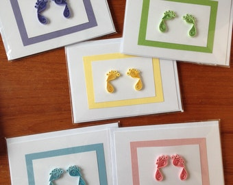 Baby feet card, Quilled baby card, Several colors available