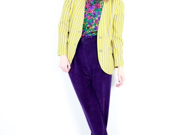 French Vintage 80's yellow striped Blazer Preppy Buttonned Vertical Stripes Patterned jacket Spring Summer Paris Vtg 1980s 90s / Size S M
