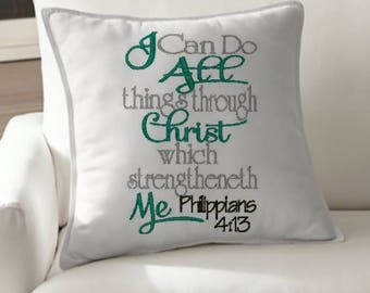 I can do all things through Christ embroidery design bible verse embroidery  design Christian embroidery design
