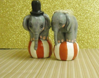 2 Circus Elephants on Ball, Bride Groom Cake Topper, Birthday Figurines.