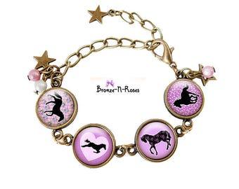 Horse girl setting costume jewelry bracelet child purple horses Christmas gift