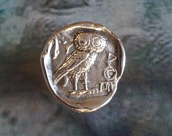 OWL of Athena - Bronze handmade ring - Greek coin - OWL