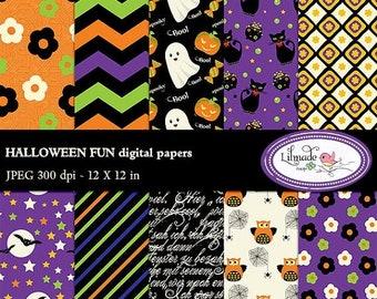 50%OFF Halloween digital paper, Halloween scrapbook paper, Halloween patterns, Halloween backgrounds, commercial use, P90