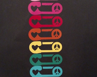 Safety Pin with Peace and Love