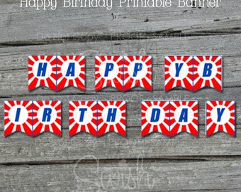 Ninja Birthday Banner | Printable Party Banner | Sign | Parkour | Digital Download | Red White Blue |  Instant Download