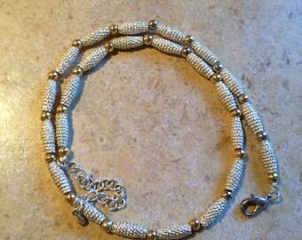 Silver Tone Bead Necklace