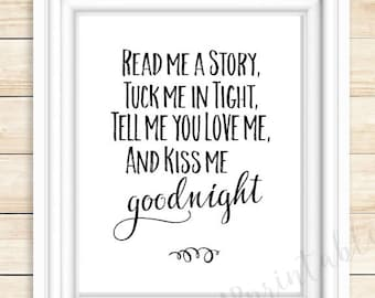 Read Me A Story, Printable Nursery Wall Art, Tuck Me In Tight, Tell
