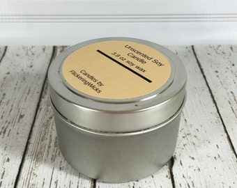 unscented soy candle tin, unscented candle, soy candle, unscented soy candle, white candle