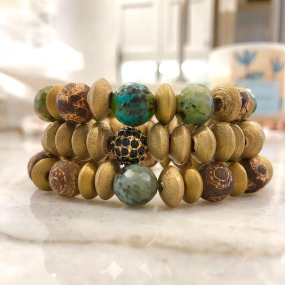 Set Green African turquoise with gold accents brown wood and seed with brown sea glass