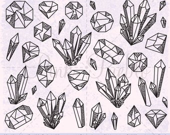 Crystal Clipart, Crystal Clip Art, Gemstone Clipart, Gemstone Clip Art, Gem Clipart Gem Clip Art - Commercial and Personal Use