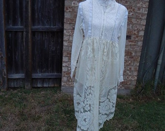Natural Cotton Laced Altered Tunic, BoHo style, shabby chic romantic blouse, Large, cottage chic, mori girl style, Crocheted Lace bottom,