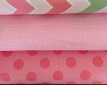 Riley Blake, Pink and Green fabric, Chevrons and Dots. Half Yard Bundle of 3 Fabrics