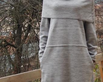 long  Sleeve Jersey  Dress Midi Extravagant Dress with Large Neckpiece & Nara KR005
