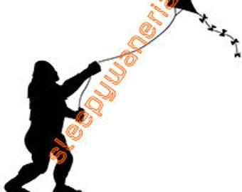 Bigfoot Stole My Kite Vinyl Sticker - Sasquatch, Yeti