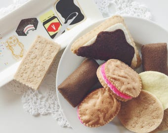 Felt Food Australian Biscuits and Sweets Tea Party Pack, Play Kitchen, Vegemite Bread, Tic Toc Biscuit, Tim Tam, Monte Carlo, Scotch Finger