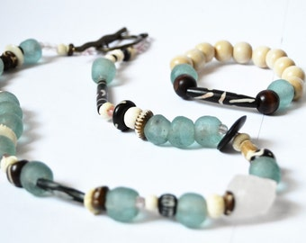 ETHNIC RECYCLED GLASS Aqua African Glass Beaded Necklace and Bracelet Set