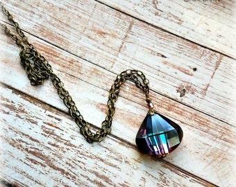 Rainbow aura crystal necklace-rainbow crystal on brass chain-rainbow crystal necklace-multi colored crystal necklace-crystal necklace