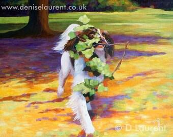 High Speed gardening - Spaniel Limited Edition Dog Art Print - Free Shipping
