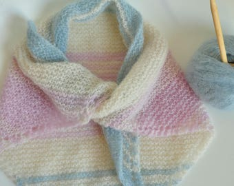 Scarf, shawl knitted girl handmade Alpaca & silk