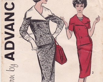 RARE FF Advance 9176 Double-Breasted Suit Dress Detach Overcollar 1960s Vintage Sewing Pattern, Size 18 1/2, Bust 39, UNCUT Factory Folded