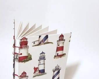 lighthouse coptic bound writing journal - nautical journal - nautical notebook - cute drawing sketchbook - large blank lighthouse journal