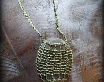 On Sale, Artist Necklace, Crocheted Lace, Gift, Stone, Original, Green, Handmade, Nature, Bohemian Style, Rock, Unique, Birthday, Monicaj