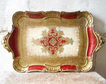 Florentine tray, vintage Italian serving tray, red and golden decorative wooden tray.
