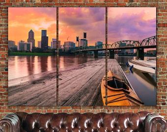 Portland Skyline Canvas  Art, Large, Portland Canvas, Portland Art, Portland Photo, Large Wall Art, Portland Wall Art, Portland Sunset