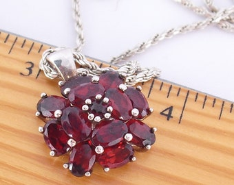 Garnet Pendant Necklace on Sterling Silver Chain Juicy Red Garnets Contemporary Estate Jewelry