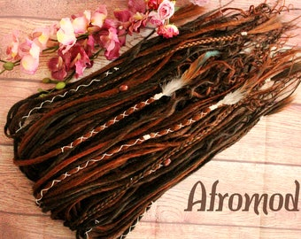 "DE Synthetic Dreads ""Dark Brown Wavy Set"" Afromod"